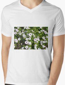 White spring flowers in the park. Mens V-Neck T-Shirt