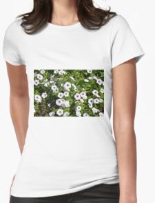 White spring flowers in the park. Womens Fitted T-Shirt
