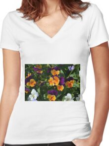 Colorful orange and purple flowers background. Women's Fitted V-Neck T-Shirt