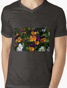 Colorful orange and purple flowers background. Mens V-Neck T-Shirt