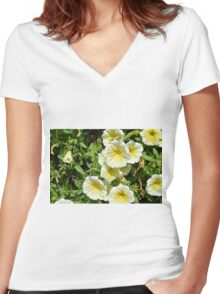 Yellow light flowers in the park. Women's Fitted V-Neck T-Shirt