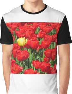 Red Tulips and a Yellow One Graphic T-Shirt