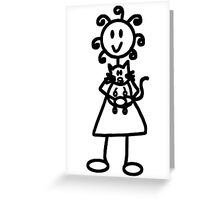 The Girl with the Curly Hair Holding Cat - Green Greeting Card