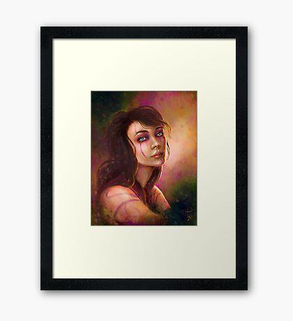 Shaman girl digital fantasy portrait Framed Print