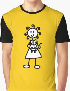The Girl with the Curly Hair Holding Cat - Yellow Graphic T-Shirt