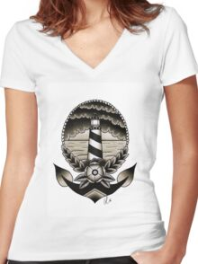 Traditional Lighthouse  Women's Fitted V-Neck T-Shirt