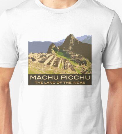 Machu Picchu Commemorative Souvenir Design, in Vintage Travel Poster Style Unisex T-Shirt