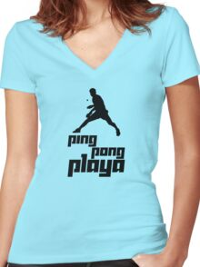 Ping Pong Playa Women's Fitted V-Neck T-Shirt