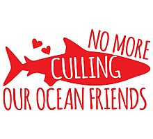 No more culling our OCEAN FRIENDS! (Sharks) Photographic Print