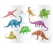 Dinosaur Montage - multicoloured Poster