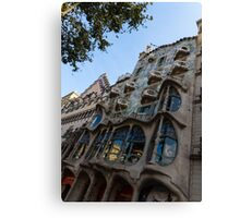 Looking Up to a Masterpiece - Antoni Gaudi's Casa Batllo in Barcelona, Spain Canvas Print
