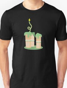 Green birthday cake with candle twirls T-Shirt