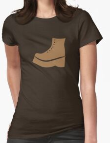 A brown boot shoe Womens Fitted T-Shirt