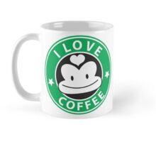 I LOVE COFFEE funny face green logo Mug