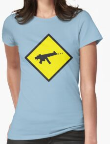 Digital GAMER crossing sign with digital gun rifle Womens Fitted T-Shirt