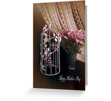 Mother's Day Card, Bird Cage and Flowers, Colour Digital Fine Art Photography  Greeting Card