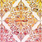 Sunset Art Nouveau Watercolor Doodle by micklyn