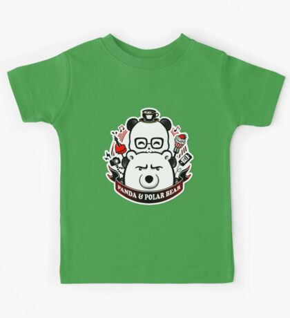 Panda And Polar Bear Badge Kids Tee