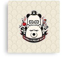 Panda And Polar Bear Badge Canvas Print