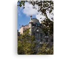 Antoni Gaudi's Casa Batllo Through Sycamore Trees Canvas Print