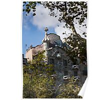 Antoni Gaudi's Casa Batllo Through Sycamore Trees Poster