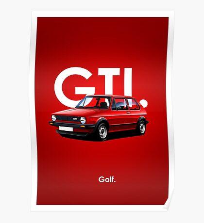 Golf GTI Classic Car Advert Poster