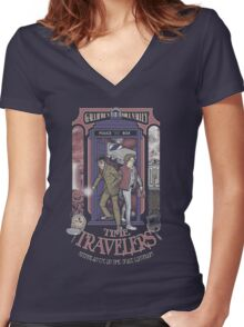 Time Travelers Women's Fitted V-Neck T-Shirt