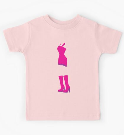 cute hot pink dress with knee high boots Kids Tee