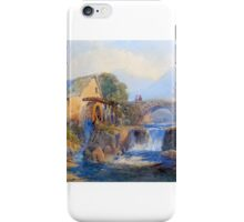Thomas Leeson Rowbotham - Watermill in a Welsh Landscape iPhone Case/Skin