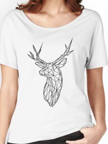 Black Wire Faceted Stag Trophy Head Women's Relaxed Fit T-Shirt