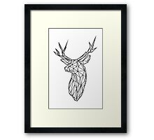 Black Wire Faceted Stag Trophy Head Framed Print