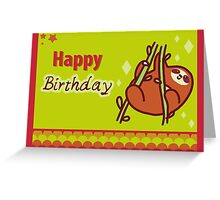 Cute Happy Birthday Sloth Greeting Greeting Card