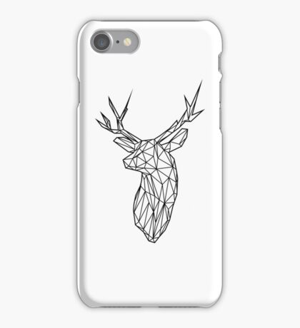 Black Wire Faceted Stag Trophy Head iPhone Case/Skin