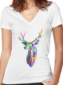 Coloured Faceted Stag Trophy Head Women's Fitted V-Neck T-Shirt