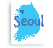 SEOUL (South Korea capital) map with love heart in blue Canvas Print