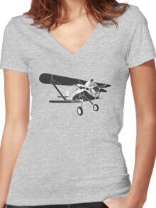 Retro fighter plane Women's Fitted V-Neck T-Shirt