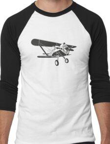 Retro fighter plane Men's Baseball ¾ T-Shirt