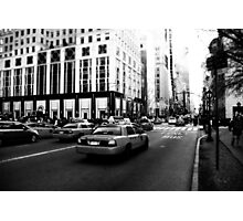 New York 5th Avenue Black & White Photographic Print