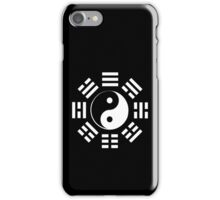 Yin Yang, I Ching, Martial Arts, Chinese, WHITE on BLACK iPhone Case/Skin