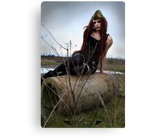 Sway In the Wasteland - Apocalyptic Dieselpunk Pinup Canvas Print