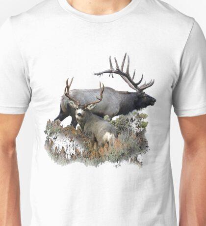 Bull elk and mule deer buck Unisex T-Shirt