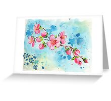 Watercolor cherry blossom branch Greeting Card
