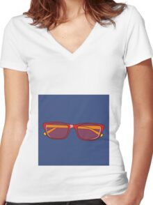 Pop Art Glasses Women's Fitted V-Neck T-Shirt