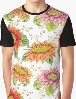 Seamless pattern with watercolor gerbera flower.  Graphic T-Shirt