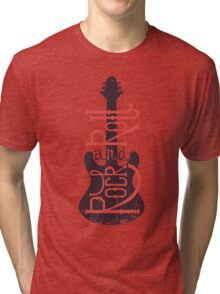 Electric guitar and lettering rock and roll with grunge effect. Tri-blend T-Shirt