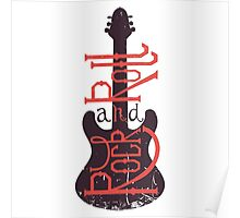 Electric guitar and lettering rock and roll with grunge effect. Poster