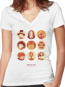 Ghibli Collection Women's Fitted V-Neck T-Shirt