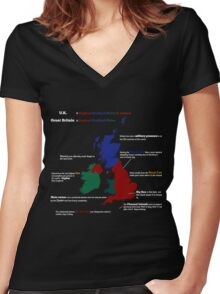 UK infographic Women's Fitted V-Neck T-Shirt