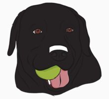 Black Lab with Ball  One Piece - Short Sleeve