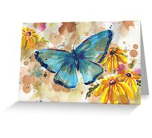 Watercolor Butterfly with BlackEyedSusan Greeting Card